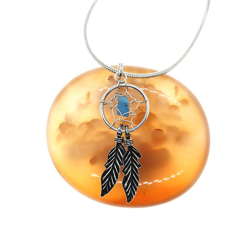 Dreamcatcher, Blue Turquoise Stone - 925 Sterling Silver Pendant