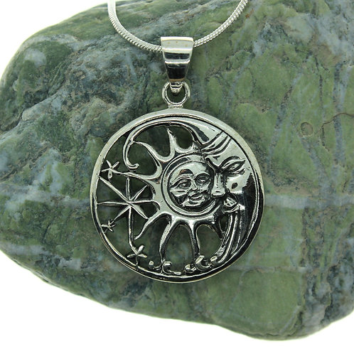 Sun, Moon & Star- 925 Sterling Silver Pendant