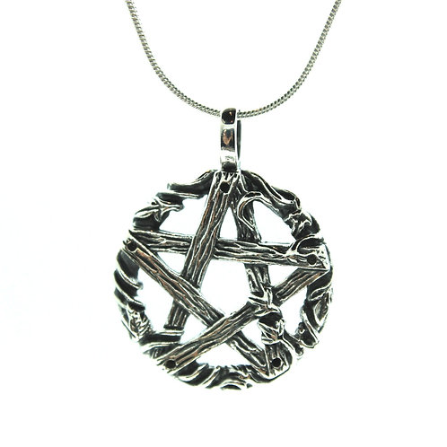 Wood Pentacle / Pentagram - 925 Sterling Silver Pendant