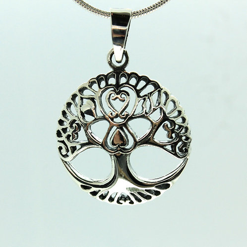 Tree of Life with Heart - 925 Sterling Silver Pendant