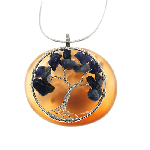 Tree of Life with Lapis Lazuli - 925 Sterling Silver Pendant