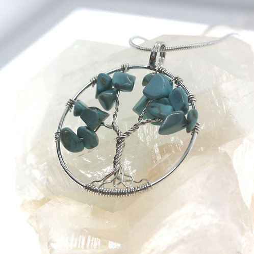Tree of Life with Turquoise - 925 Sterling Silver Pendant