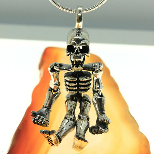 Skeleton with moveable limbs - 925 Sterling Silver Pendant