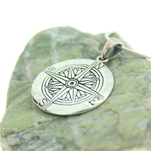 Compass Rose - 925 Sterling Silver Pendant