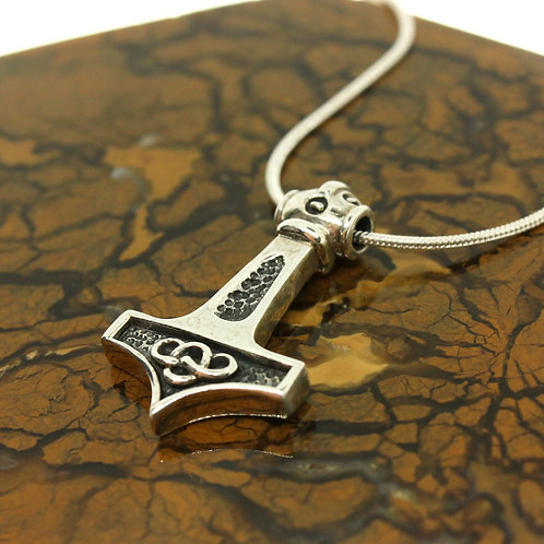 Mjolnir Thor Hammer with Celtic Knot - 925 Sterling Silver Pendant