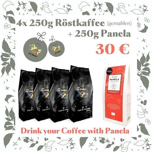 "4x250g Röstkaffee gemahlen Or´Doñez ""Colombia 100%""+ 250g Panela Vollroh"