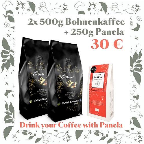 "2x500g Bohnenkaffee Or´Doñez  ""Colombia 100%""  + 250g Panela Vollrohrzuc"