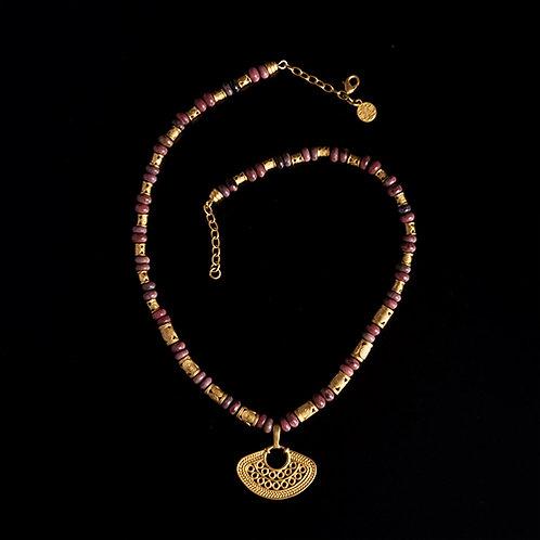 Halskette CL1976+DJ1067 mit Pink Rhodanite