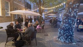 Epic Pies courtyard by night