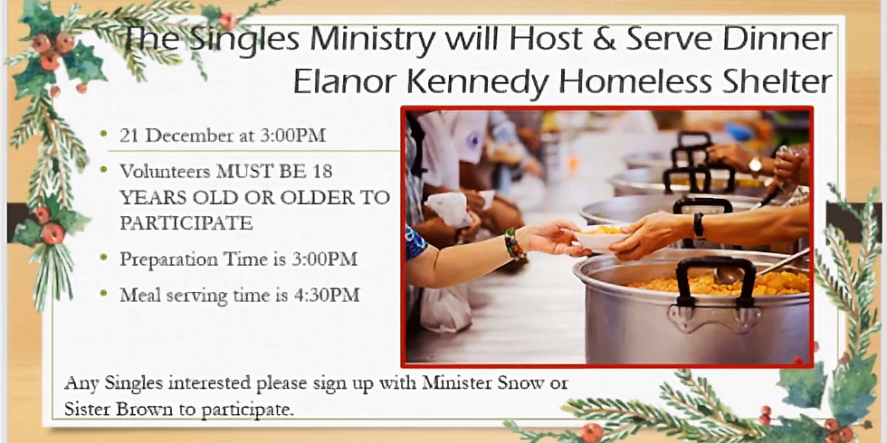 Singles Ministry: Serve at the Elanor Kennedy Homeless Shelter
