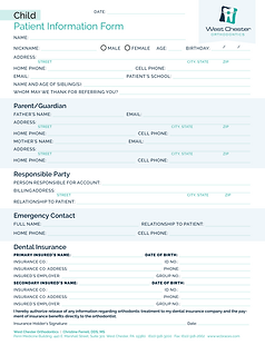 Child New Patient Forms