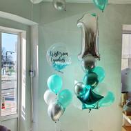 Komplekts ar spalviņu balonu un cipara pušķi