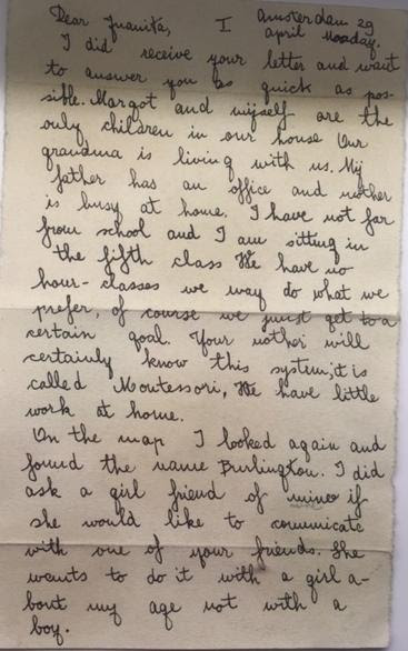 Letter from Anne Frank to Juanita