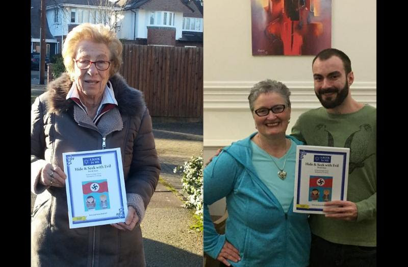 Left: Eva Schloss holding Hide & Seek with Evil Right: Deb Bowen with young author Sergiu Troaca