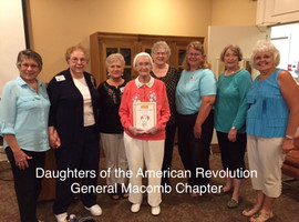 Dorothy Anderson with Daughters of the American Revolution General Macomb Chapter