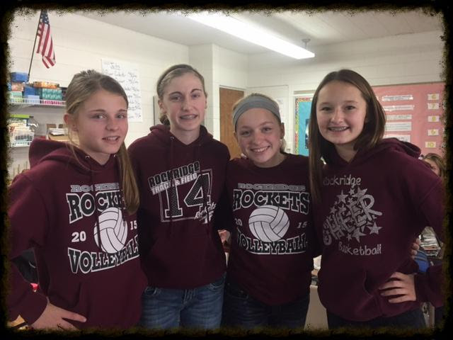 Future young authors and illustrators  from Rockridge Junior High. Ella Douglas, Mia Freyermuth, Kenzie Reimers and  Grace Ryckaert