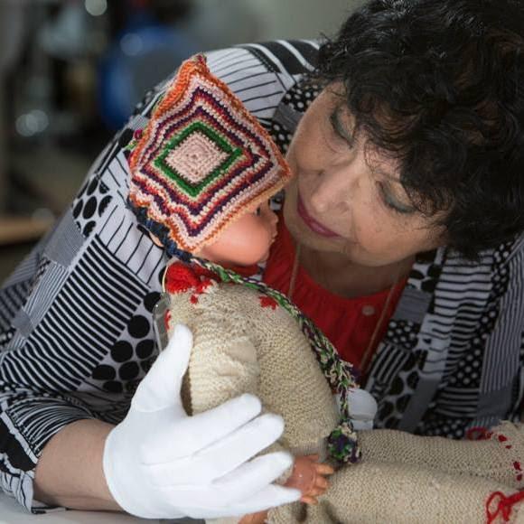 Inge with doll, Marlene