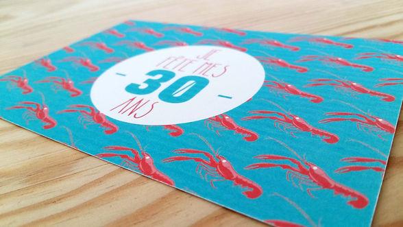 carte anniversaire personnalisée 30 ans langoustines