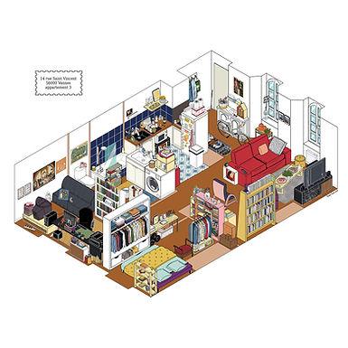 appartement illustration isométrie Vannes Morbihan pierre cesca pedro junior illustrations