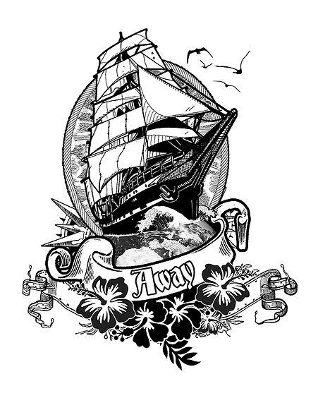 tatouage surfeur dessin vague bateau away Saint Gilles Croix de Vie