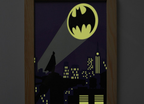 Illustration phosphorescente Bat-signal