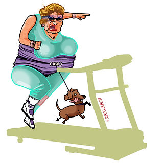 Mamie jogging Biception film musculation fitness charadesign pierre cesca pedro junior illustrations