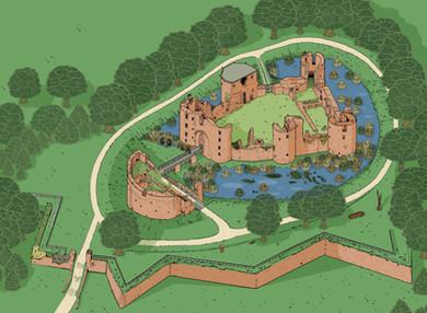Dessin d'un plan aérien pour le Château de Ranrouët
