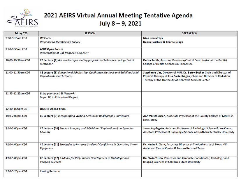 AEIRS 2021 Annual Meeting - Friday July
