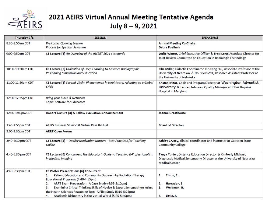 AEIRS 2021 Annual Meeting - Thursday Jul