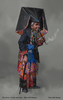 The Story of Tam and Cam - Wise Old Woman Final Character Design