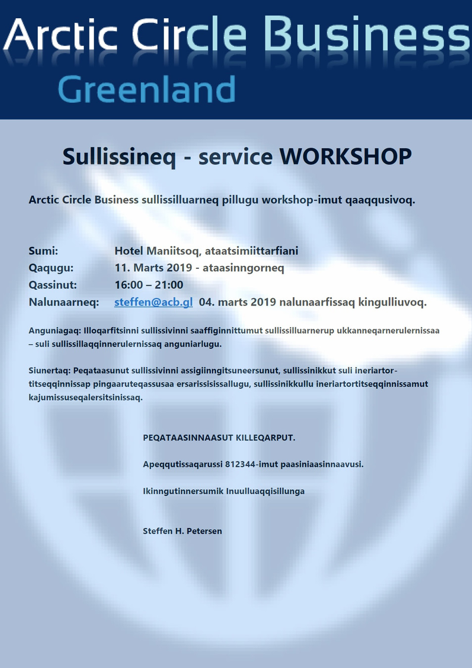 Sullissineq - service WORKSHOP Maniitsumi
