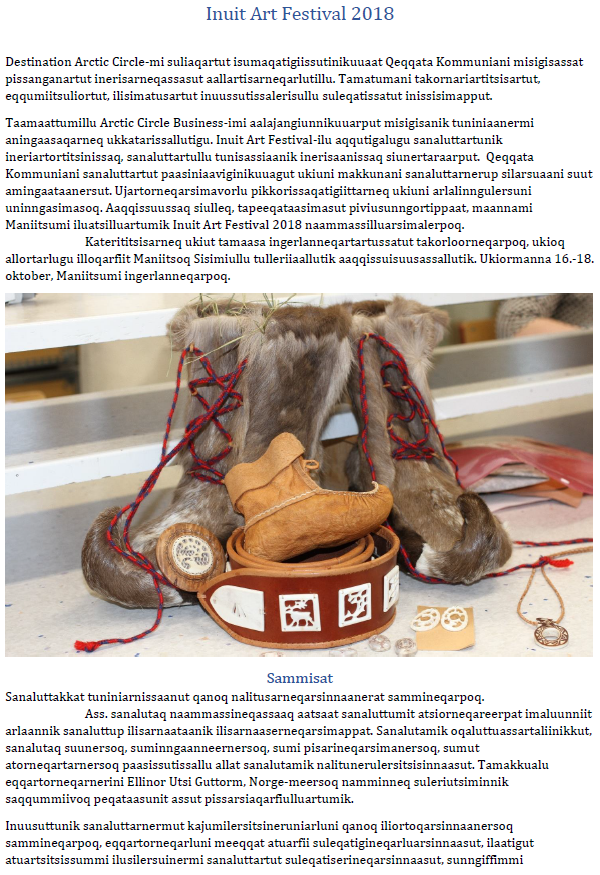 Inuit Art Festival pillugu atuarit