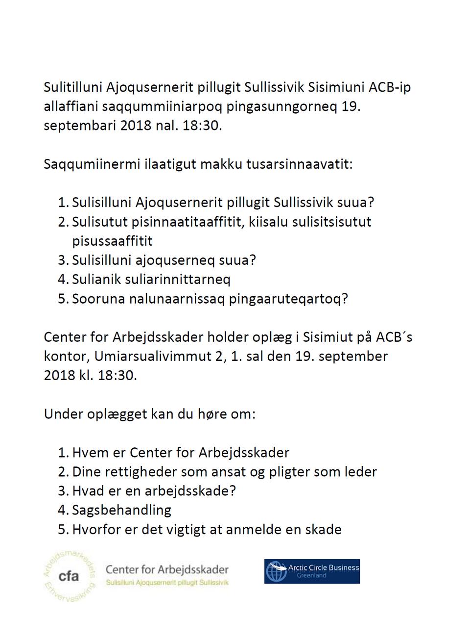 Aallarnisaasunut unnussiuaartitsineq: cfa paasititsiniaalerpoq / Iværksætteraften: cfa holder oplæg