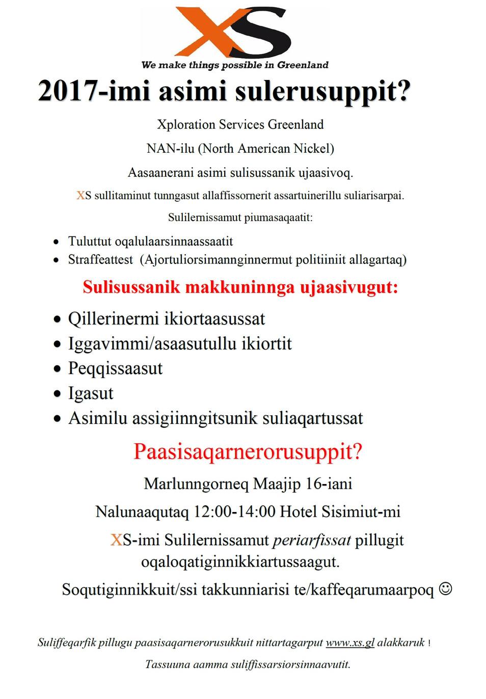 Xploration Services Greenland NAN-ilu Aasaanerani asimi sulisussarsiorpoq
