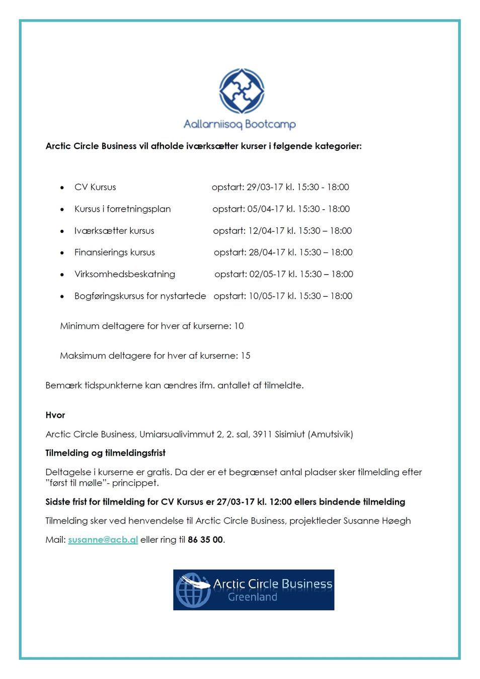 Iværksætterkursus + Finansierings kursus blev afholdt 28/04-17
