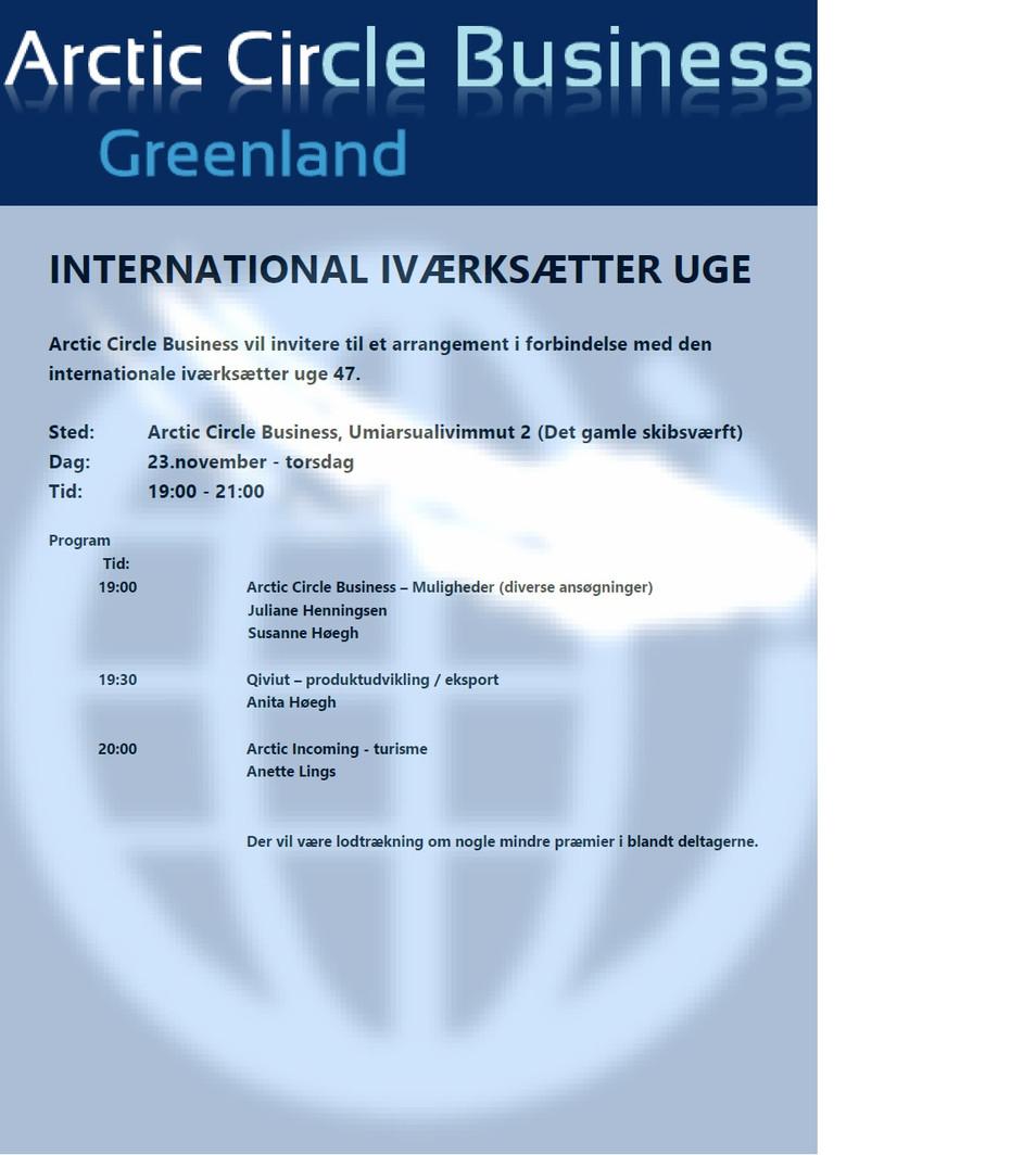 Arctic Circle Business inviterer til et arrangement i forbindelse med den internationale iværksætter