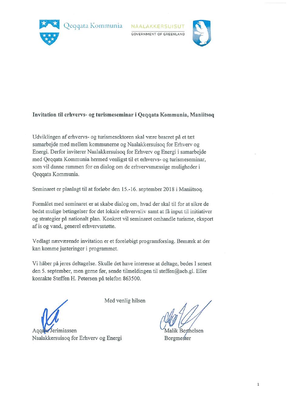 Invitation til erhvervs- og turismeseminar i Qeqqata Kommunia, Maniitsoq