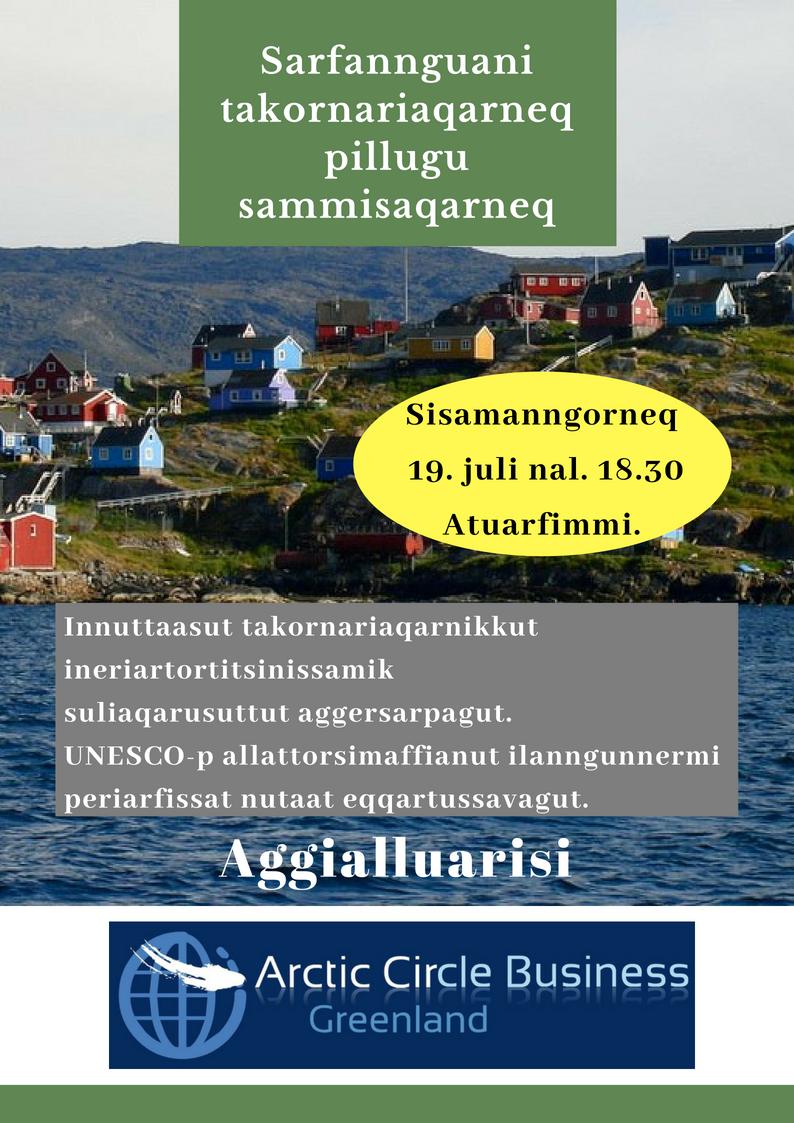 Sarfannguani takornariaqarneq pillugu sammisaqarneq / Turisme aften i Sarfannguit