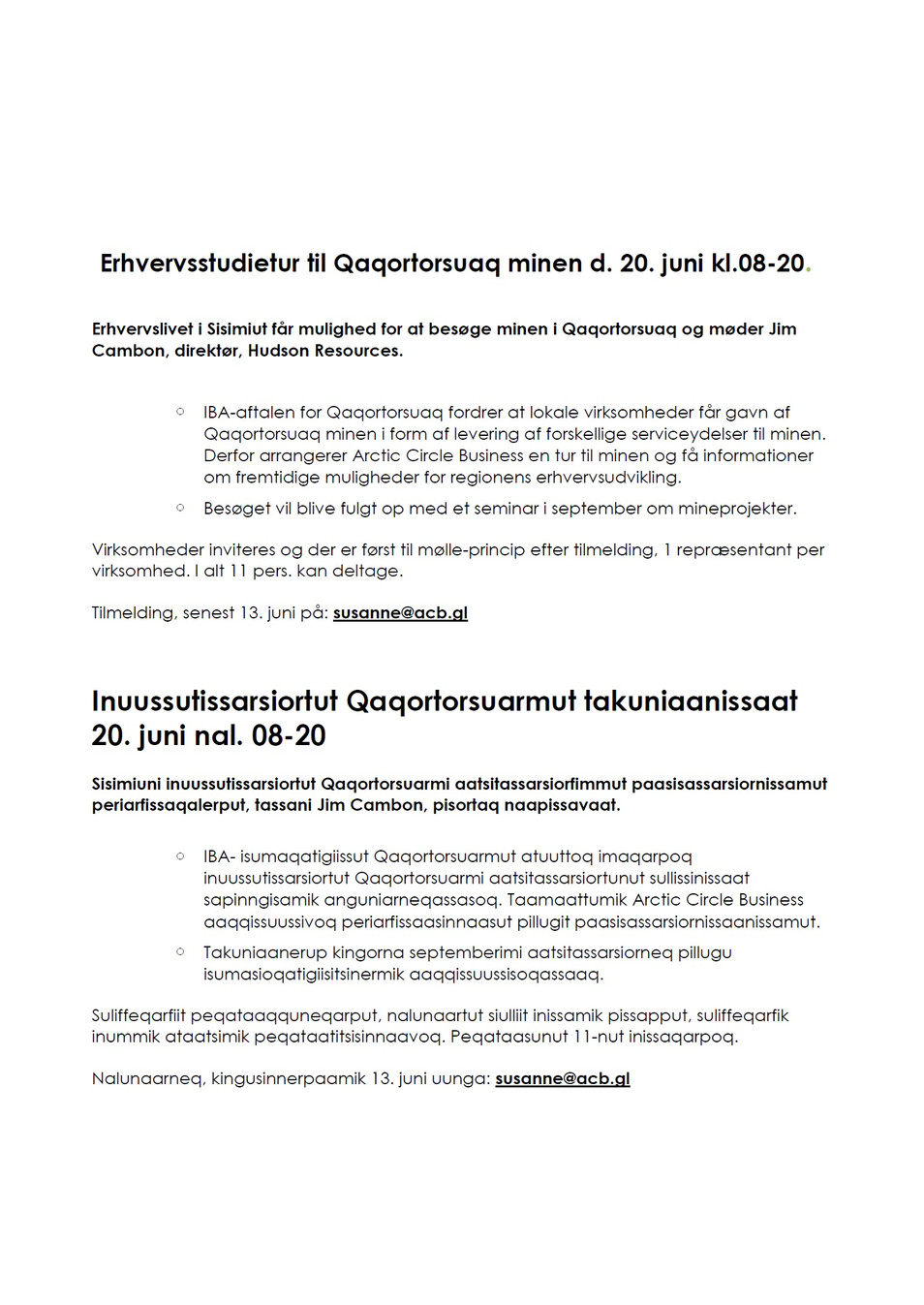 Inuussutissarsiortut Qaqortorsuarmut takuniaanissaat / Erhvervsstudietur til Qaqortorsuaq minen