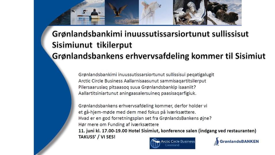 Grønlandsbanki inuussutissarsiortunut sullissisut Sisimiunut tikilerput / GrønlandsBankens Erhvervsa