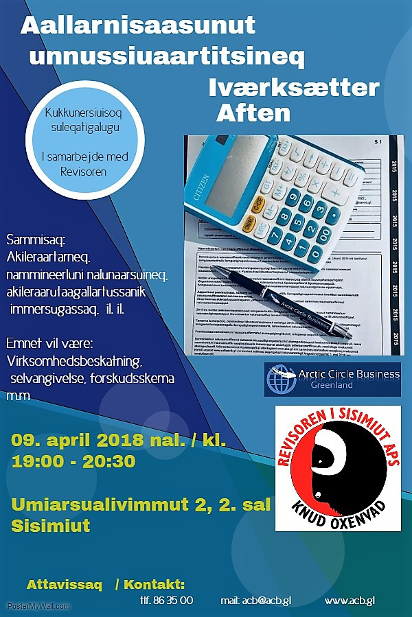 Aallarnisaasunut unnussiuaartitsineq / Iværksætteraften