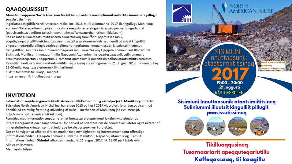 North American Nickel inviterer til informationsmøde i Sisimiut 21. august kl. 19:00 - 20 :00