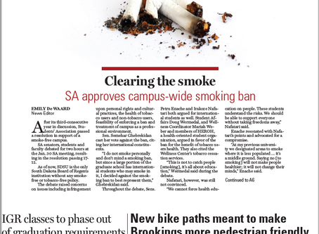 Clearing the smoke: Students' Association approves campus-wide smoking ban