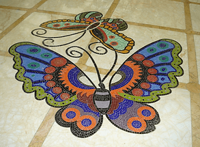mozaik yer deseni, mozaik duvar deseni, mozaik vitray ozel siparis, ozel siparis mozaik dizayn, ozel siparis mozaik desen, kelebek mozaik deseni, el yapimi mozaik desen, mozaik kursu