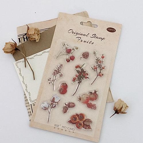 Red Floral Stamp Set