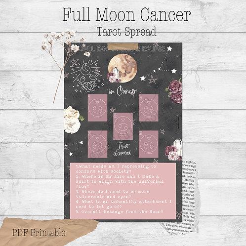 Full Moon in Cancer Tarot Spread Printable