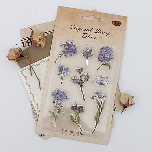 Blue Floral Stamp Set