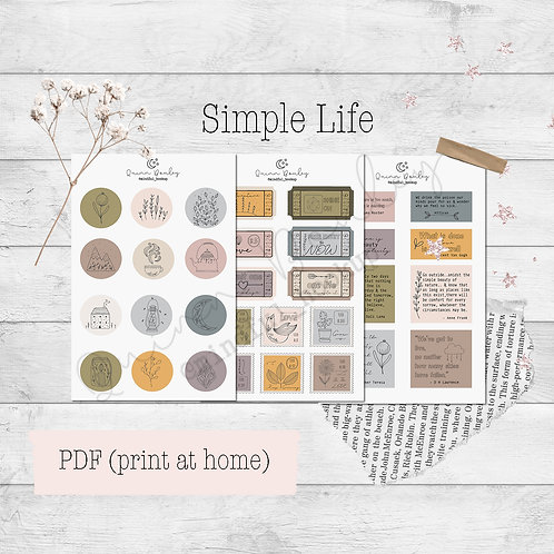 Simple Life Printable Stickers