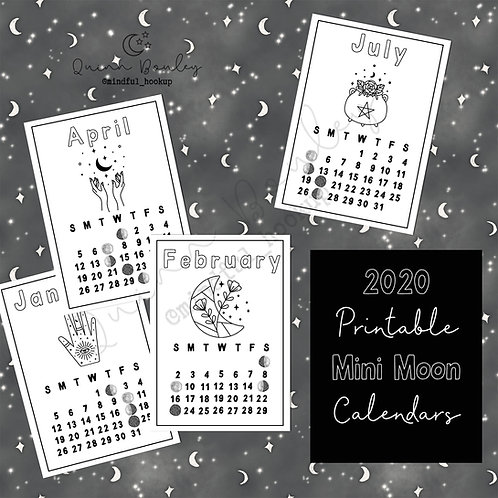 2020 Mini Moon Calendars Printable