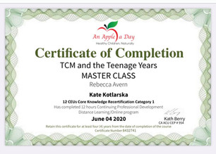 TCM and Teenage Years course completed:)